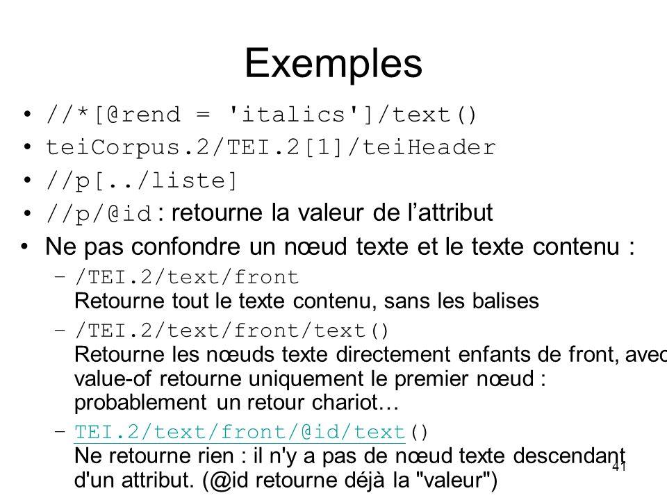 Exemples //*[@rend = italics ]/text() teiCorpus.2/TEI.2[1]/teiHeader